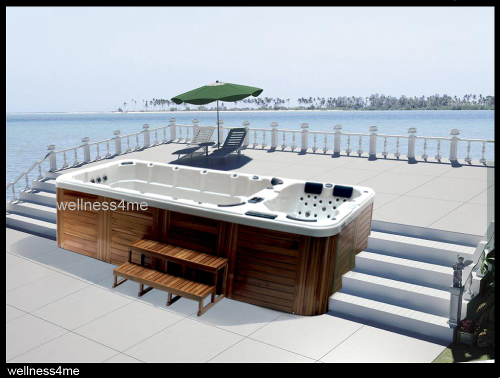 outdoor whirlpool jacuzzi mit mp3 player beleuchtung wassfont ne abdeckung ebay. Black Bedroom Furniture Sets. Home Design Ideas