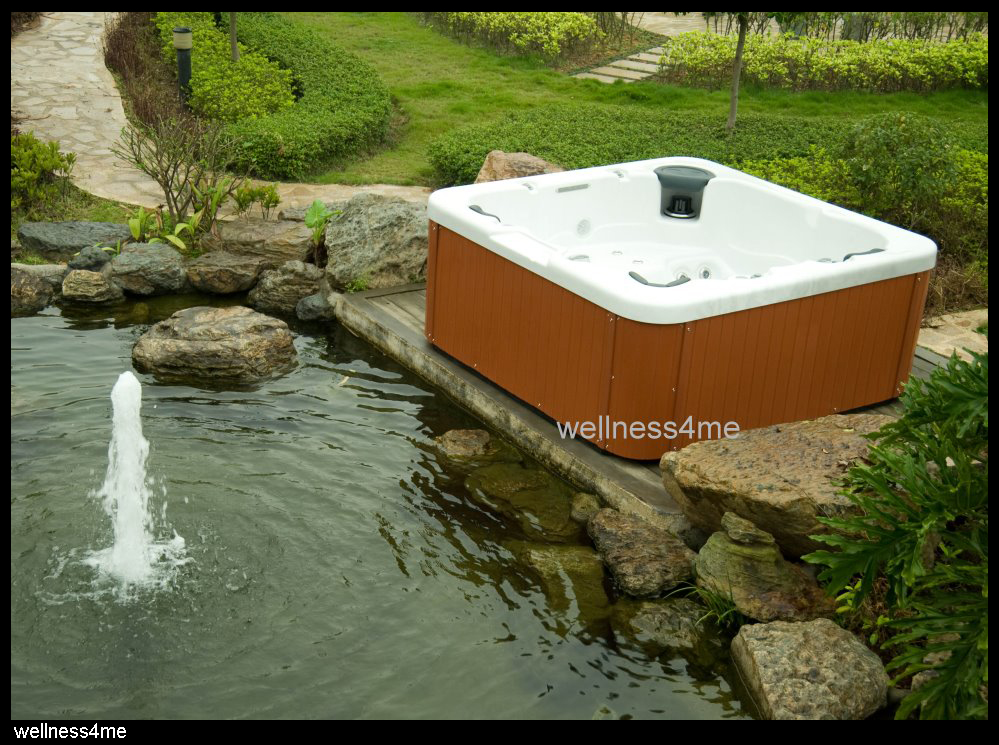 outdoor jacuzzi whirlpool mit mp3 player led beleuchtung wasserfall abdeckung ebay. Black Bedroom Furniture Sets. Home Design Ideas