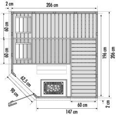 massivholz sauna saunakabine 206x206cm ofen mit integrierter steuerung steine ebay. Black Bedroom Furniture Sets. Home Design Ideas