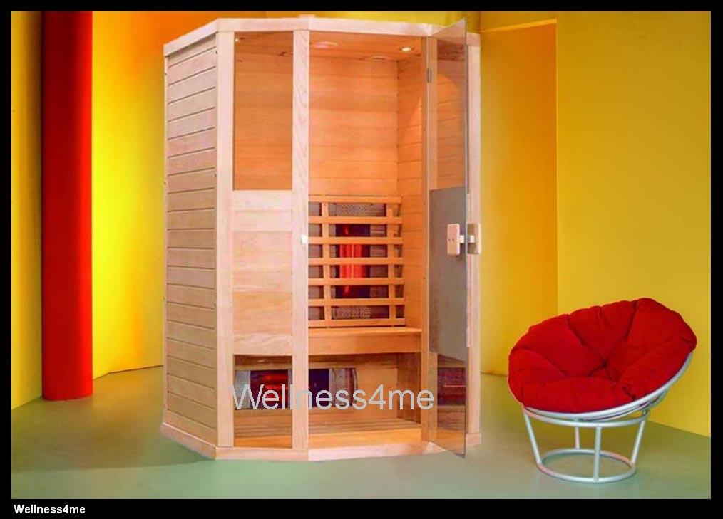 hemlock infrarot kabine mit 6 rotlicht vollspektrum strahler led farblicht radio ebay. Black Bedroom Furniture Sets. Home Design Ideas